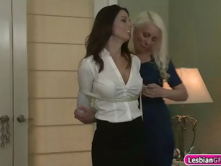horny blonde milf ties her brunette gf and licks her pussy