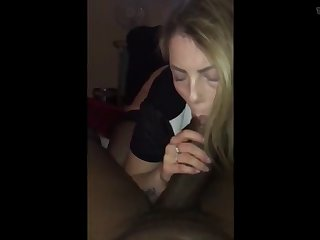 crazy blonde bitch can't get enough of her first bbc