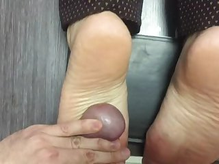 married coworker footjob foot fuck. in secret from her hubby