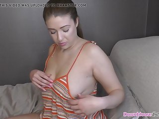 cute brunette shows downblouse and all natural tits