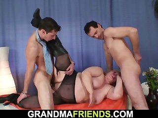 big tits soft granny in pantyhose swallows two cocks