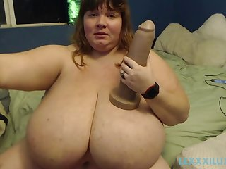 hot bbw love monster dildo